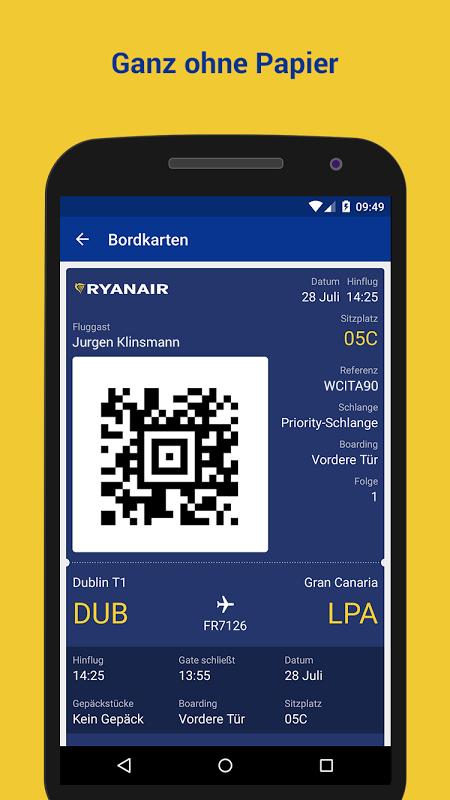ryanair app bordkarte