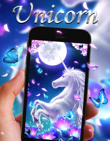 White Unicorn Live Wallpaper Screenshot 1