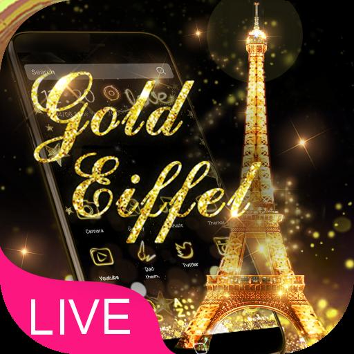 3D Gold Eiffel Tower Theme