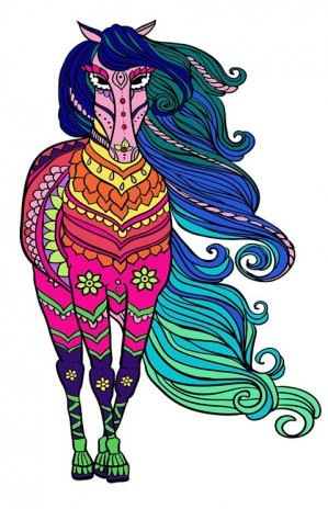 Horses Mandala Coloring Page Screenshot 1