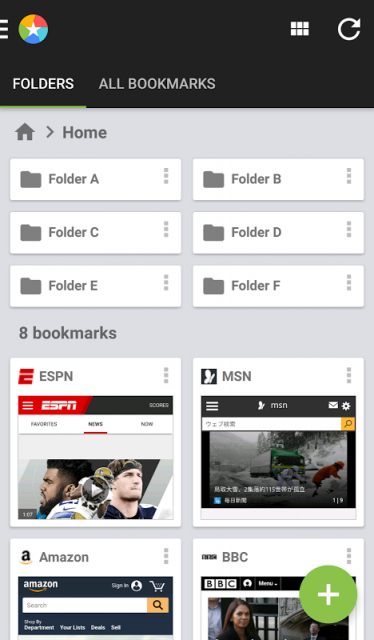 how to create bookmark folder on android