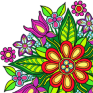 Flower Mandala Coloring Book Icon