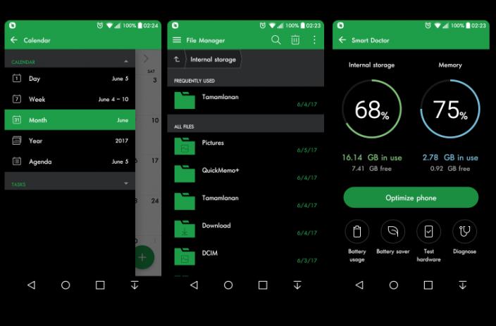Green Darkness Theme For LG G6 G5 G4 V20 V10 K10 1 1 0