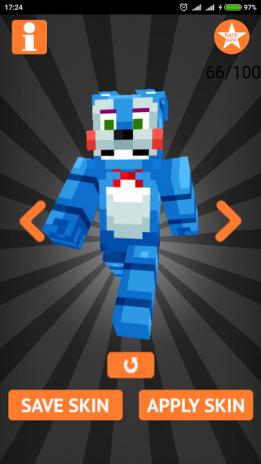 Skins FNAF For Minecraft PE Descargar APK Para Android Aptoide - Skins para minecraft pe descargar