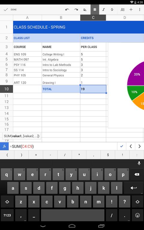 Folhas de cálculo do Google screenshot 1