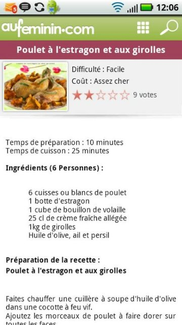 Cuisine aufeminin recettes download apk for android for Aufeminin cuisine