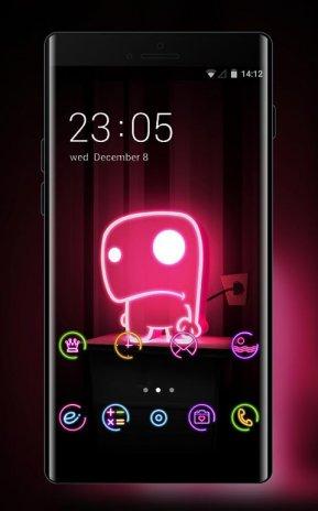 Neon Lights Theme Cute Monster Live Wallpaper Screenshot 1