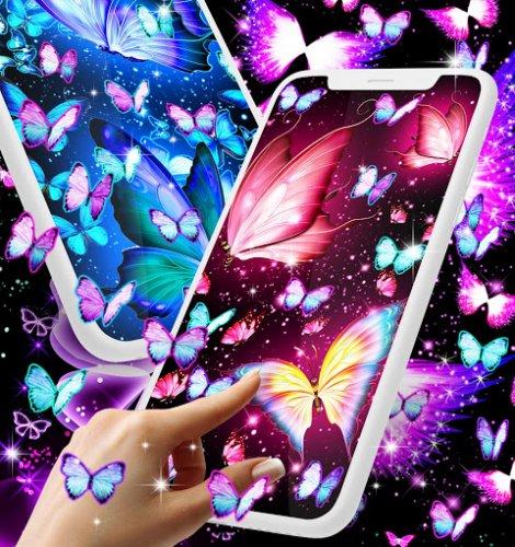 Neon Butterflies Glowing Live Wallpaper 16 0 Download Android Apk Aptoide