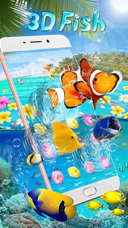 Lively 3D Color Fish Theme screenshot 2