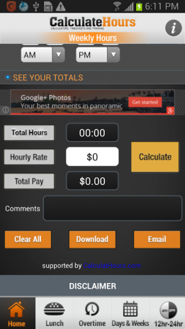 calculate time card with lunch