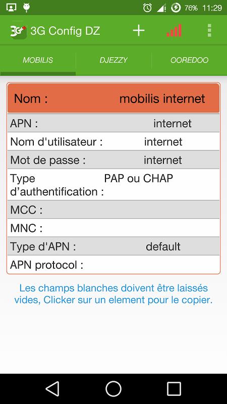 configuration 3g mobilis