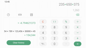 Samsung Calculator Screen