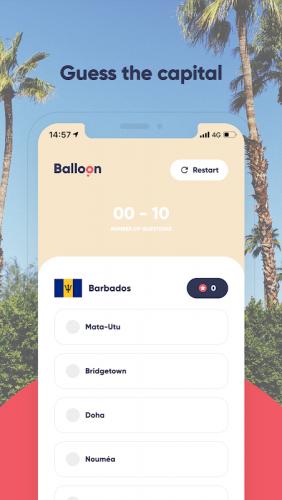 Balloon Game - Capital World Quiz screenshot 1