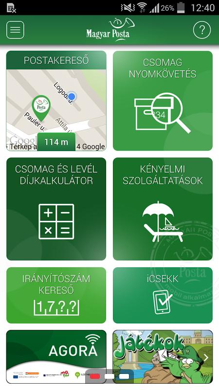 Magyar Posta applikáció screenshot 1