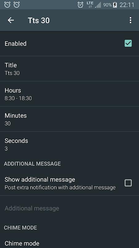 Hourly chime screenshot 2